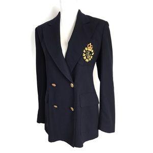 Lauren Ralph Lauren Wool Blazer navy blue crest